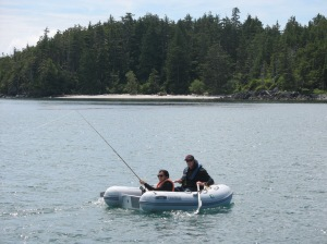 Ian & Charito dingy fishing at the Goose Group