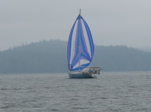 S/V Nomad with spinnaker up in a light wind in Fitz Hugh Sound