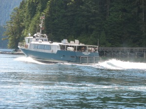 Water taxi/ferry leaves Hartley Bay and returns to Prince Rupert with an ETA of 4 hours.
